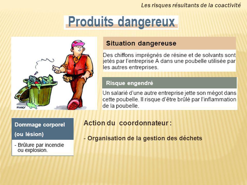 Action du coordonnateur : - Organisation de la gestion des déchets Les risques résultants de la coactivité