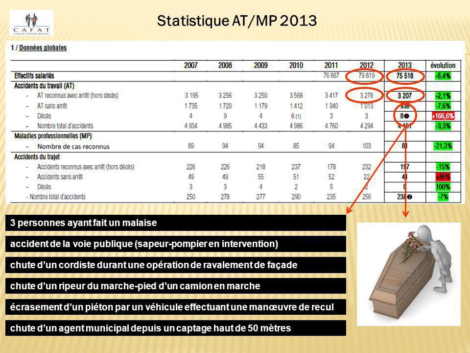 Statistique AT/MP 2013 3 personnes ayant fait un malaise accident de la voie publique (sapeur-pompier en intervention) chute d'un cordiste durant une