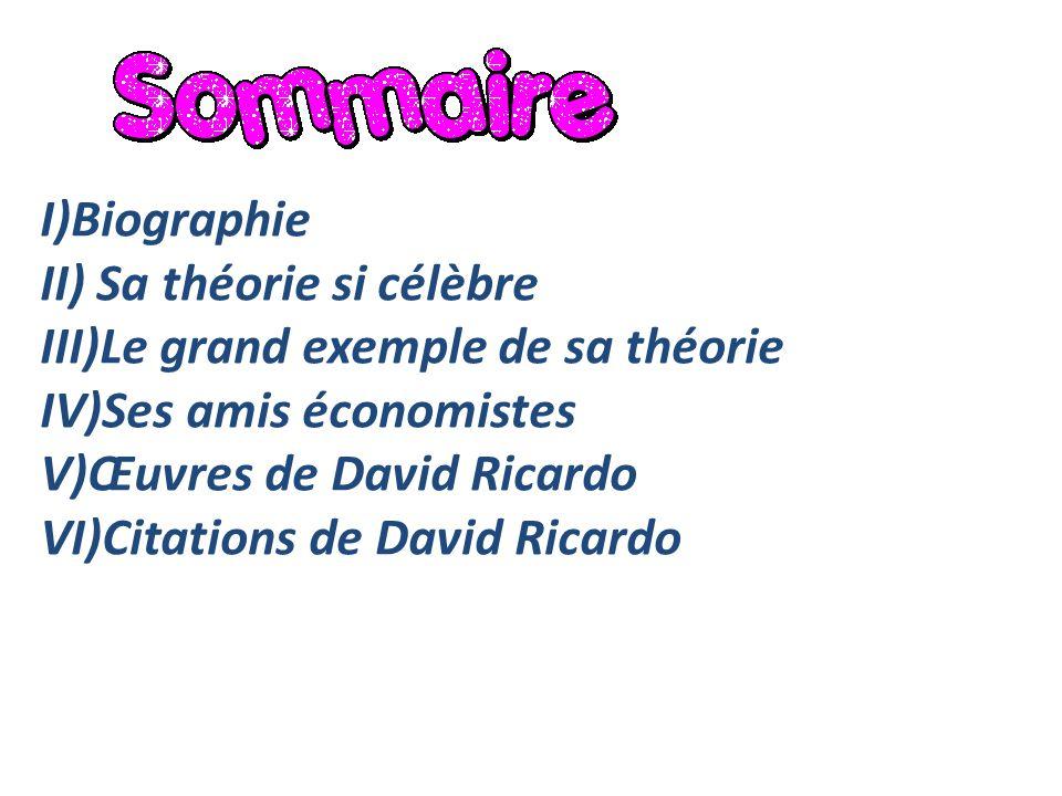 I)Biographie II) Sa théorie si célèbre III)Le grand exemple de sa théorie IV)Ses amis économistes V)Œuvres de David Ricardo VI)Citations de David Rica