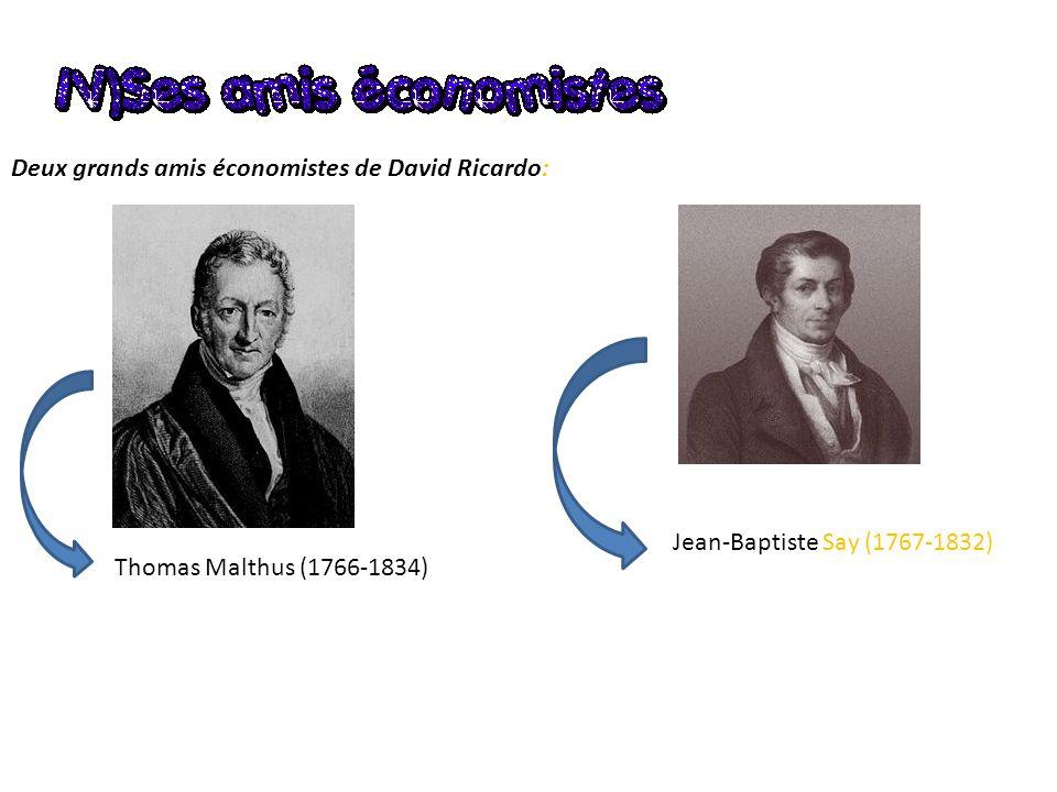 Deux grands amis économistes de David Ricardo: Thomas Malthus (1766-1834) Jean-Baptiste Say (1767-1832)