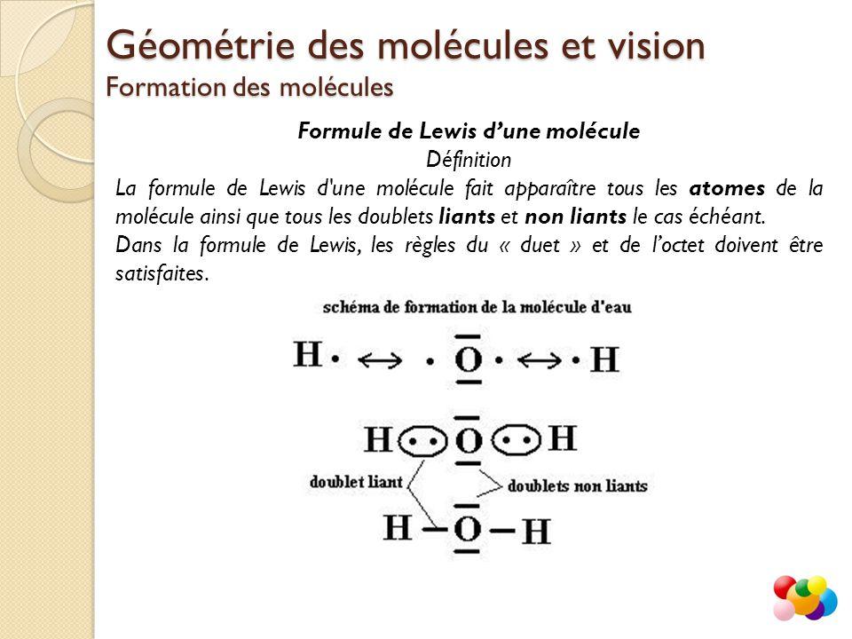 Formule de Lewis d'une molécule Définition La formule de Lewis d'une molécule fait apparaître tous les atomes de la molécule ainsi que tous les double