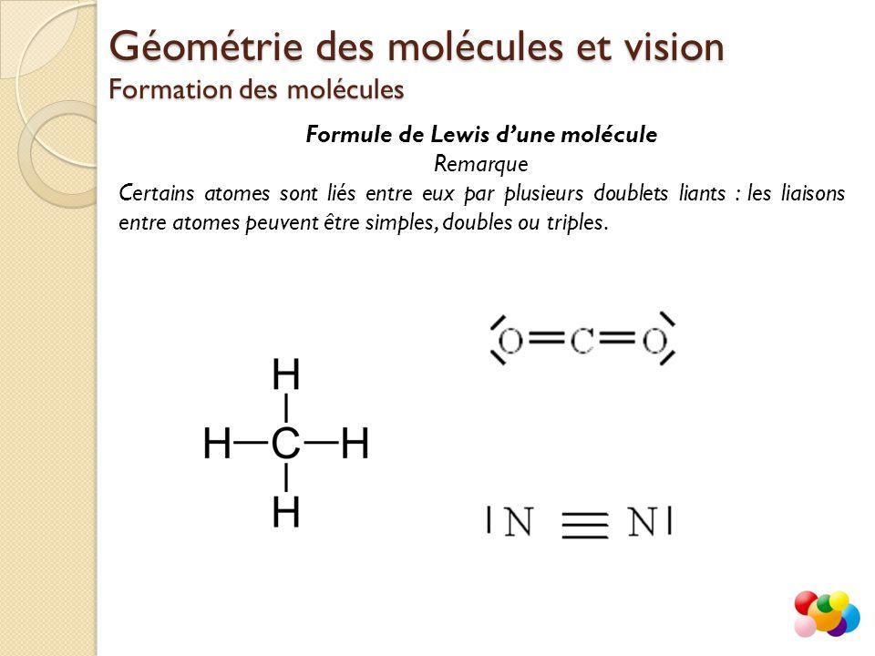 Formule de Lewis d'une molécule Remarque Certains atomes sont liés entre eux par plusieurs doublets liants : les liaisons entre atomes peuvent être si