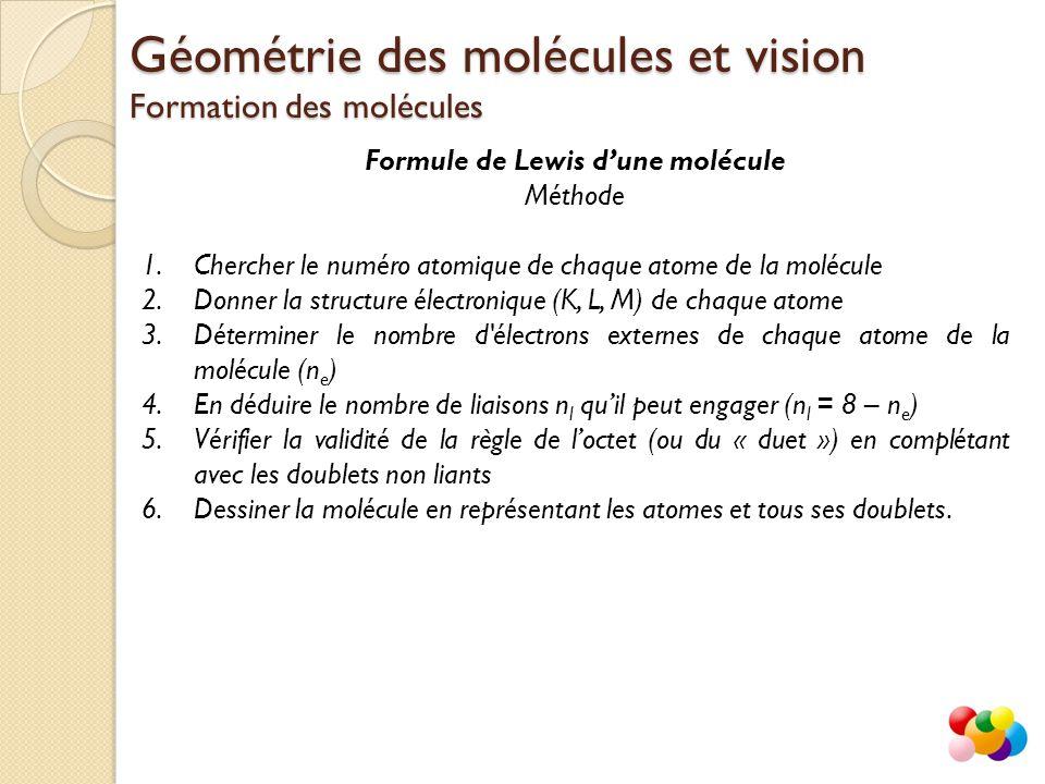 Formule de Lewis d'une molécule Méthode 1.Chercher le numéro atomique de chaque atome de la molécule 2.Donner la structure électronique (K, L, M) de c