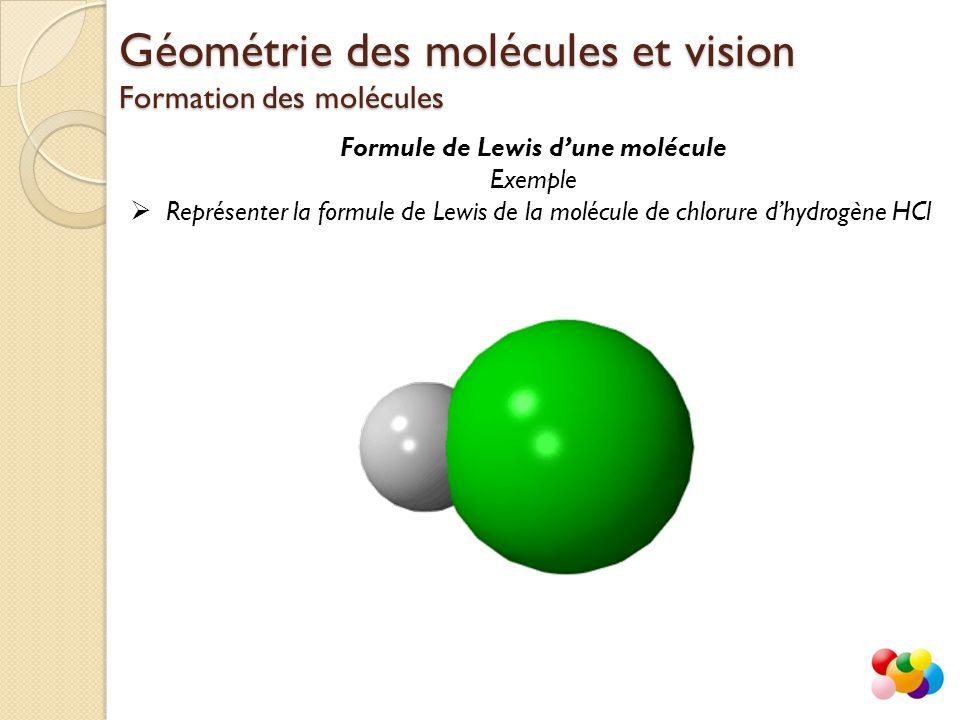Formule de Lewis d'une molécule Exemple  Représenter la formule de Lewis de la molécule de chlorure d'hydrogène HCl Géométrie des molécules et vision
