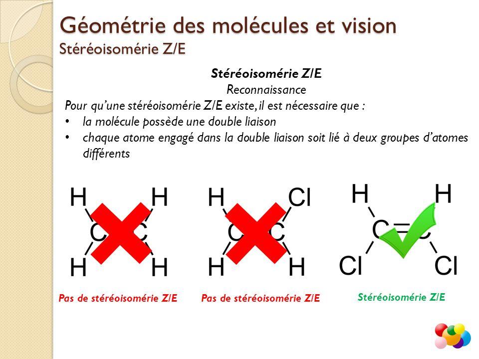 Stéréoisomérie Z/E Reconnaissance Pour qu'une stéréoisomérie Z/E existe, il est nécessaire que : la molécule possède une double liaison chaque atome e