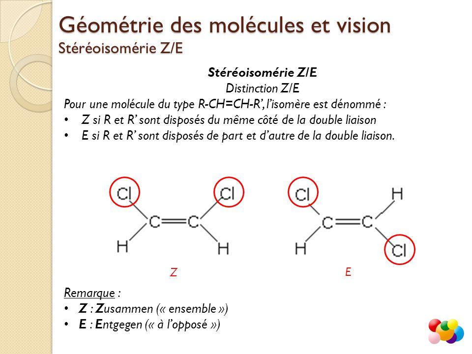 Distinction Z/E Pour une molécule du type R-CH=CH-R', l'isomère est dénommé : Z si R et R' sont disposés du même côté de la double liaison E si R et R