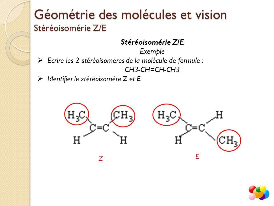 Stéréoisomérie Z/E Exemple  Ecrire les 2 stéréoisomères de la molécule de formule : CH3-CH=CH-CH3  Identifier le stéréoisomère Z et E Géométrie des
