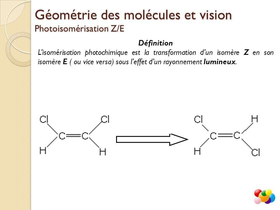 Définition L'isomérisation photochimique est la transformation d'un isomère Z en son isomère E ( ou vice versa) sous l'effet d'un rayonnement lumineux