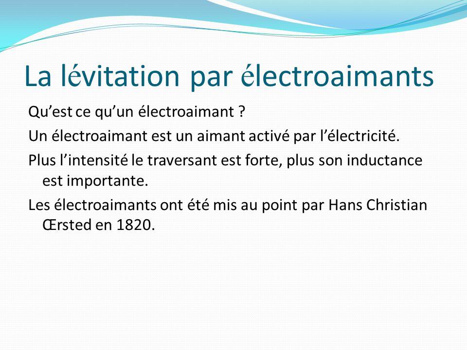 La l é vitation par é lectroaimants Qu'est ce qu'un électroaimant ? Un électroaimant est un aimant activé par l'électricité. Plus l'intensité le trave