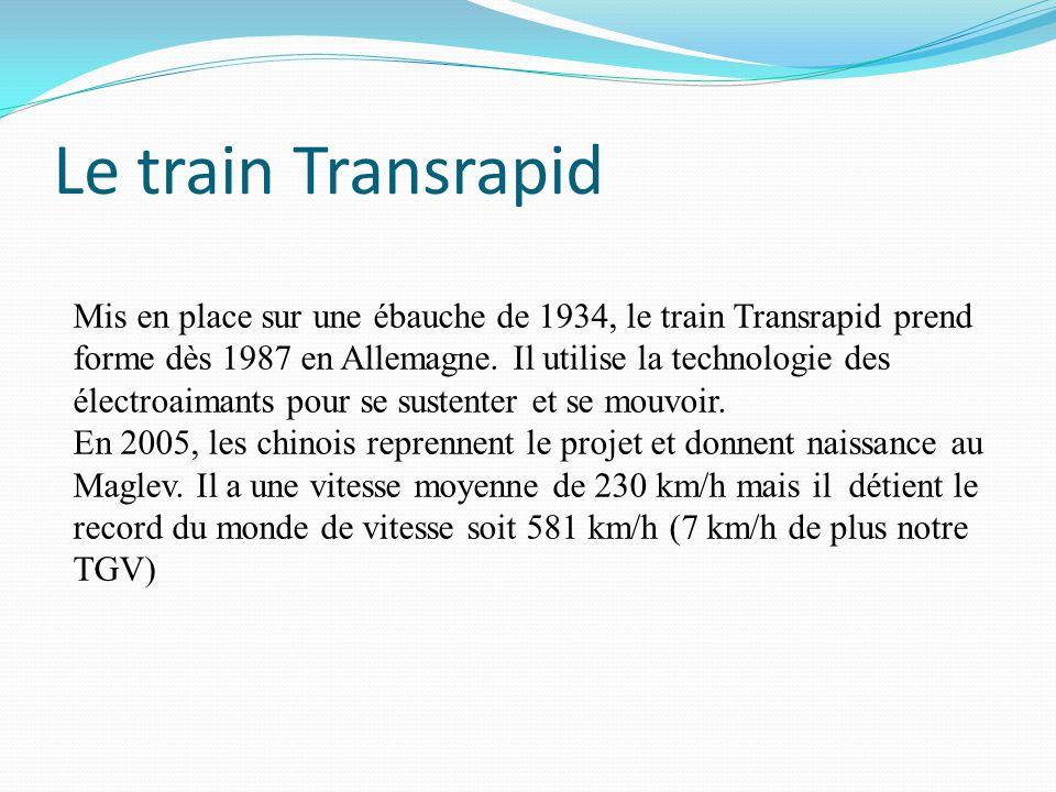 Le train Transrapid Mis en place sur une ébauche de 1934, le train Transrapid prend forme dès 1987 en Allemagne. Il utilise la technologie des électro