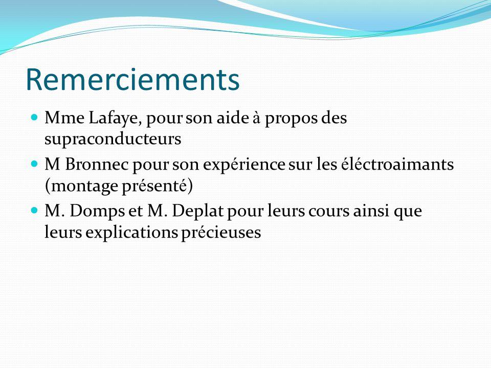 Remerciements Mme Lafaye, pour son aide à propos des supraconducteurs M Bronnec pour son exp é rience sur les é l é ctroaimants (montage pr é sent é ) M.