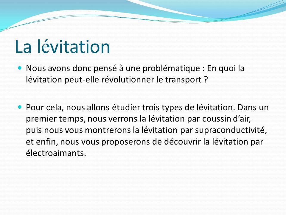 I La lévitation par coussin d'air Voici l'aéroglisseur réalisé par notre équipe La lévitation par coussin d'air a été trouvée par un ingénieur français, Jean Bertin.