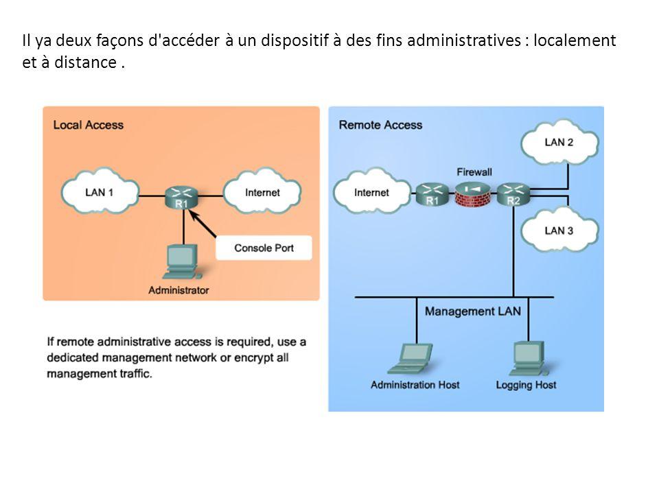 Il ya deux façons d'accéder à un dispositif à des fins administratives : localement et à distance.