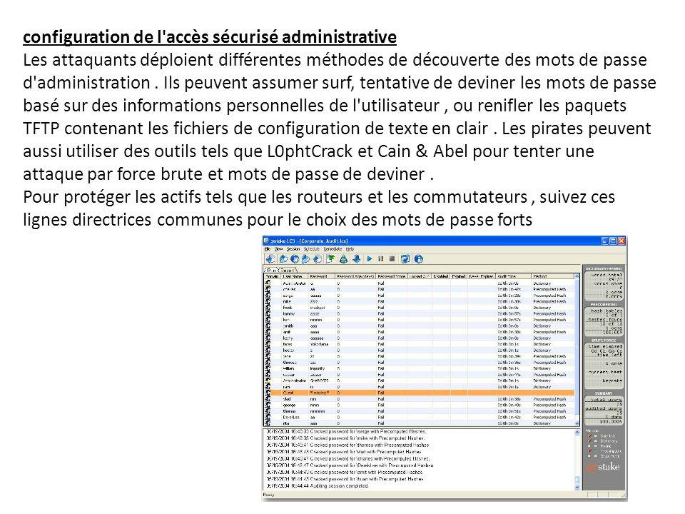 configuration de l'accès sécurisé administrative Les attaquants déploient différentes méthodes de découverte des mots de passe d'administration. Ils p
