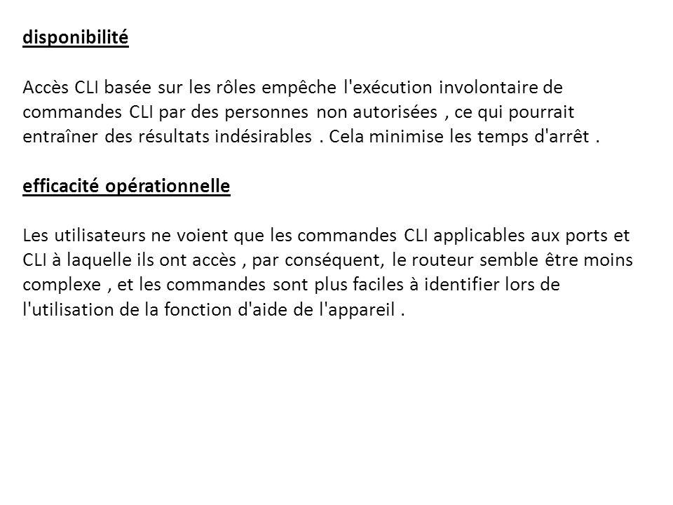 disponibilité Accès CLI basée sur les rôles empêche l'exécution involontaire de commandes CLI par des personnes non autorisées, ce qui pourrait entraî