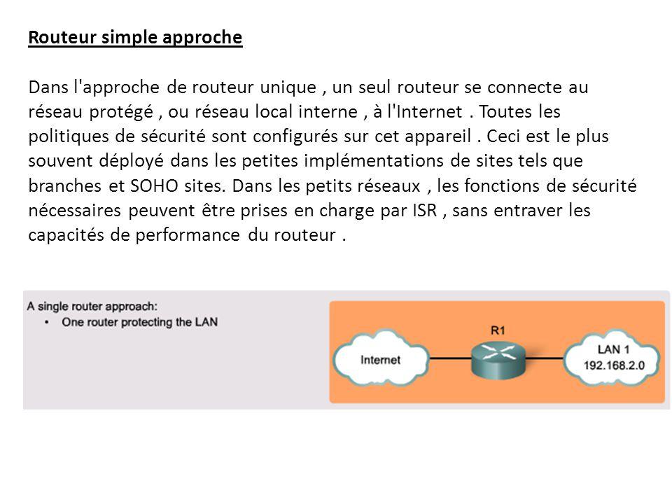 Routeur simple approche Dans l'approche de routeur unique, un seul routeur se connecte au réseau protégé, ou réseau local interne, à l'Internet. Toute
