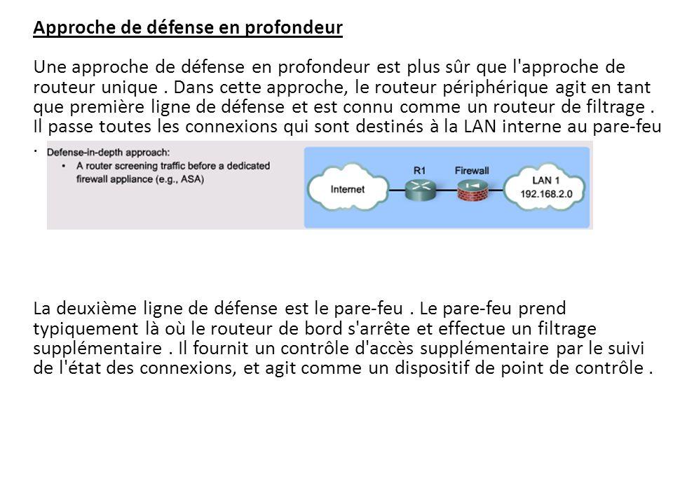 Approche de défense en profondeur Une approche de défense en profondeur est plus sûr que l'approche de routeur unique. Dans cette approche, le routeur