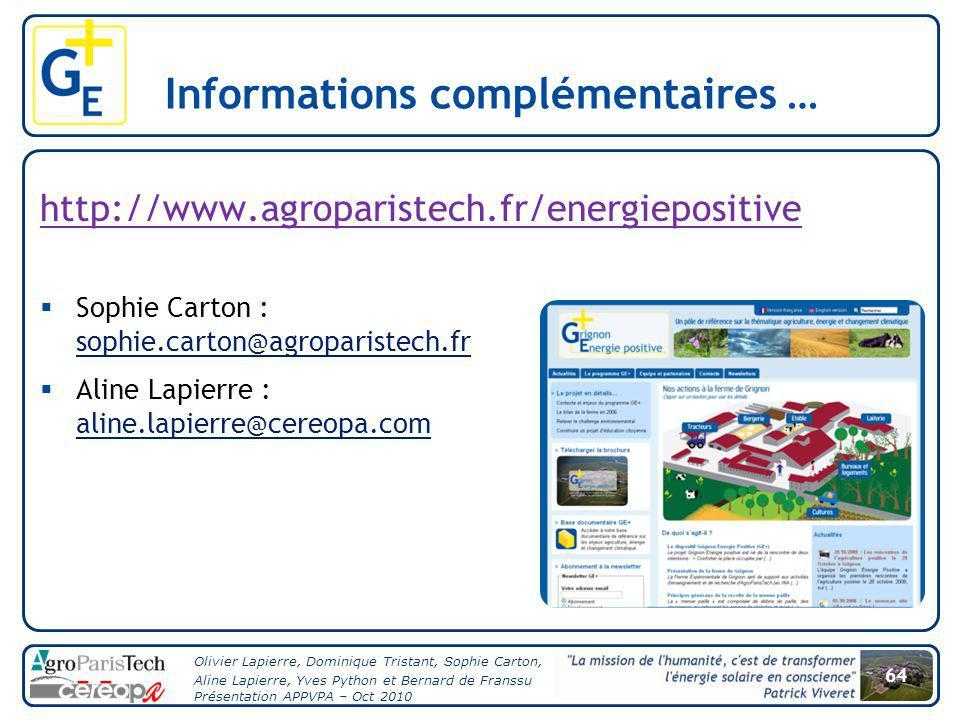 64 Olivier Lapierre, Dominique Tristant, Sophie Carton, Aline Lapierre, Yves Python et Bernard de Franssu Présentation APPVPA – Oct 2010 Informations