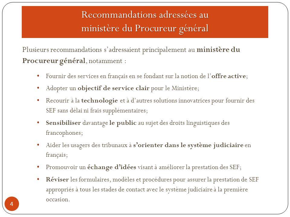 Rapport final du Comité directeur de mise en œuvre des recommandations du CCMBSEF 15 Le Comité directeur de mise en œuvre des recommandations du CCMBSEF présentera un rapport final à la procureure générale décrivant sa réponse au rapport Accès à la justice en français.
