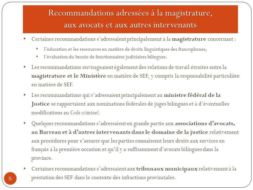 Recommandations adressées à la magistrature, aux avocats et aux autres intervenants 5 Certaines recommandations s'adressaient principalement à la magistrature concernant : l'éducation et les ressources en matière de droits linguistiques des francophones, l'évaluation du besoin de fonctionnaires judiciaires bilingues.