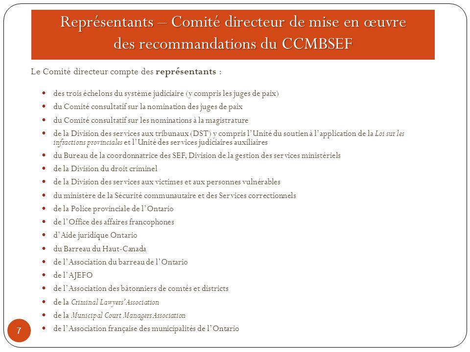 Représentants – Comité directeur de mise en œuvre des recommandations du CCMBSEF 7 Le Comité directeur compte des représentants : des trois échelons d