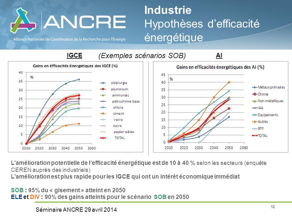 12 Séminaire ANCRE 29 avril 2014 Industrie Hypothèses d'efficacité énergétique IGCEAI L'amélioration potentielle de l'efficacité énergétique est de 10 à 40 % selon les secteurs (enquête CEREN auprès des industriels) L'amélioration est plus rapide pour les IGCE qui ont un intérêt économique immédiat SOB : 95% du « gisement » atteint en 2050 ELE et DIV : 90% des gains atteints pour le scénario SOB en 2050 (Exemples scénarios SOB)