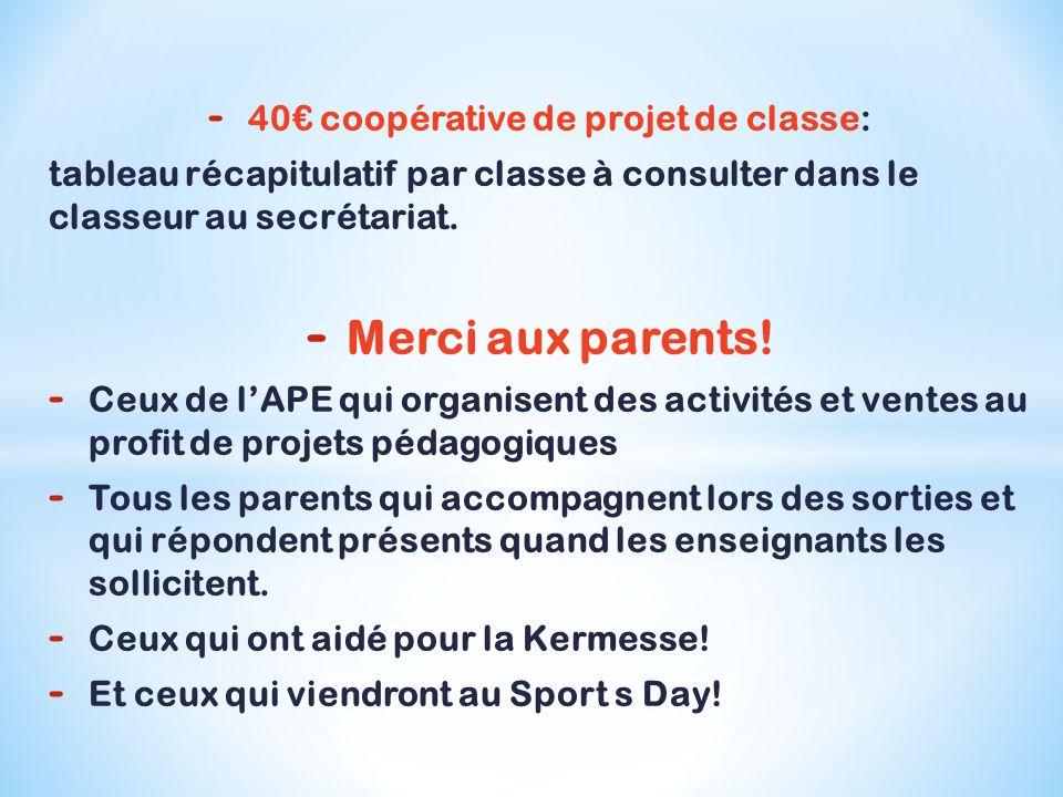 - 40€ coopérative de projet de classe: tableau récapitulatif par classe à consulter dans le classeur au secrétariat.