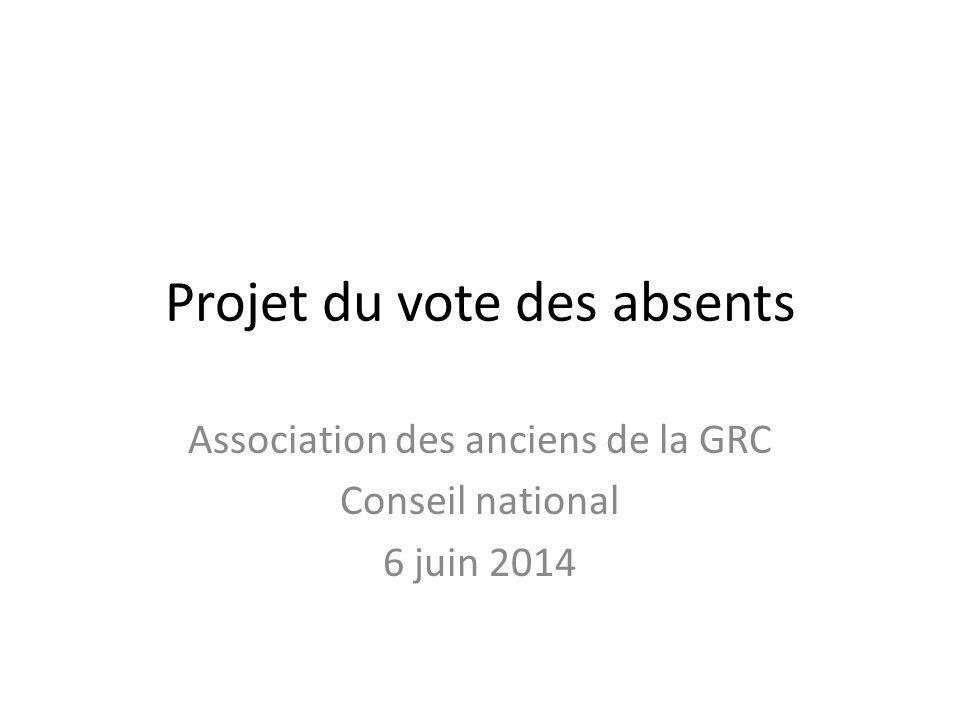 Projet du vote des absents Association des anciens de la GRC Conseil national 6 juin 2014