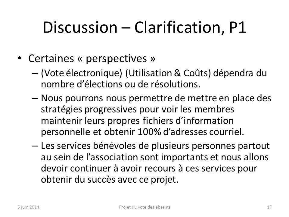 Discussion – Clarification, P1 Certaines « perspectives » – (Vote électronique) (Utilisation & Coûts) dépendra du nombre d'élections ou de résolutions.