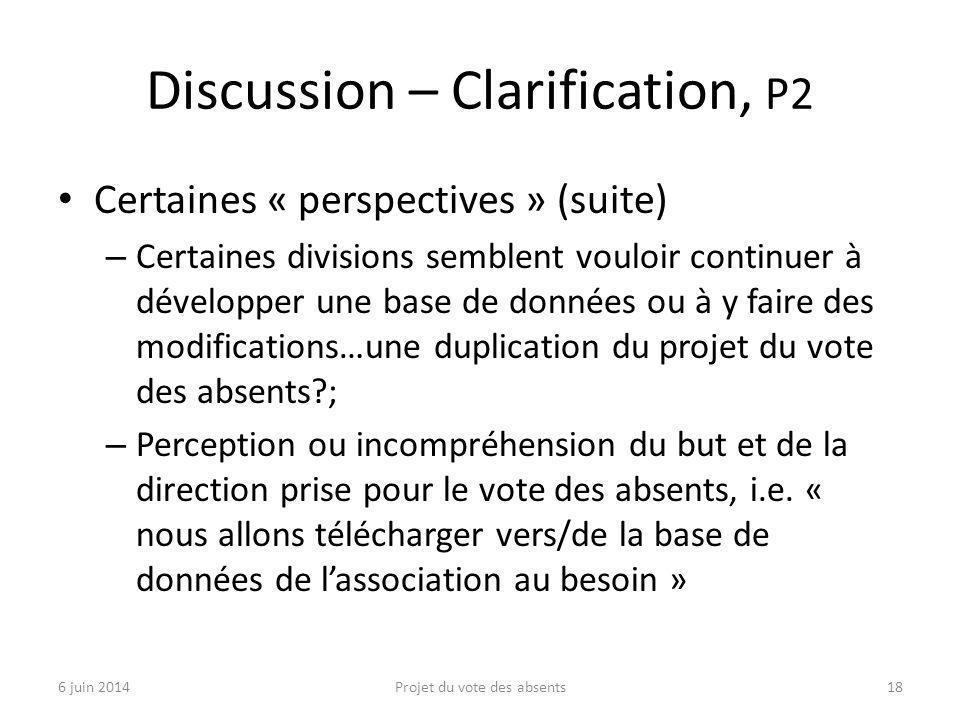 Discussion – Clarification, P2 Certaines « perspectives » (suite) – Certaines divisions semblent vouloir continuer à développer une base de données ou à y faire des modifications…une duplication du projet du vote des absents ; – Perception ou incompréhension du but et de la direction prise pour le vote des absents, i.e.