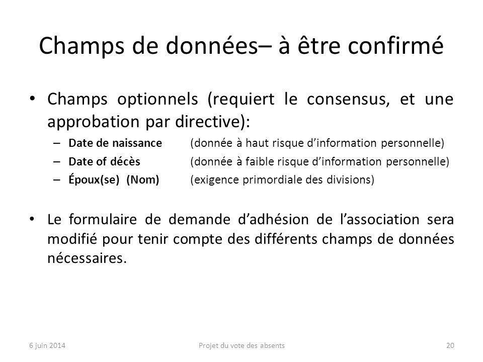 Champs de données– à être confirmé Champs optionnels (requiert le consensus, et une approbation par directive): – Date de naissance (donnée à haut ris