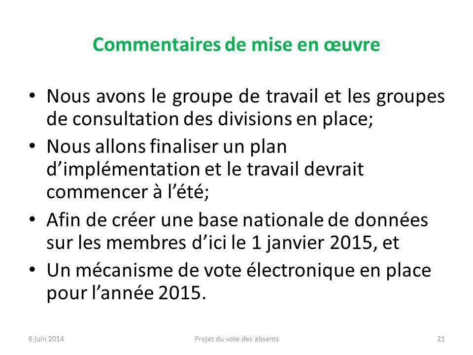 Commentaires de mise en œuvre Nous avons le groupe de travail et les groupes de consultation des divisions en place; Nous allons finaliser un plan d'implémentation et le travail devrait commencer à l'été; Afin de créer une base nationale de données sur les membres d'ici le 1 janvier 2015, et Un mécanisme de vote électronique en place pour l'année 2015.