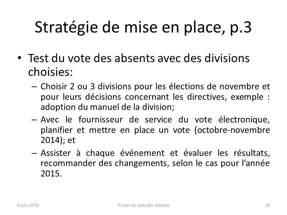 Stratégie de mise en place, p.3 Test du vote des absents avec des divisions choisies: – Choisir 2 ou 3 divisions pour les élections de novembre et pou