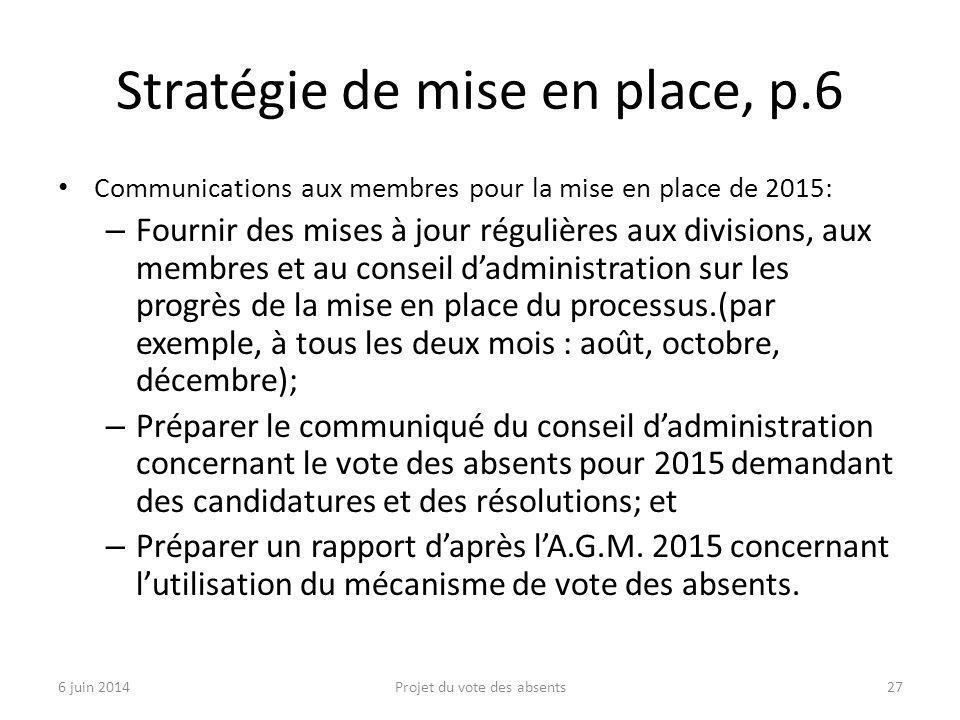Stratégie de mise en place, p.6 Communications aux membres pour la mise en place de 2015: – Fournir des mises à jour régulières aux divisions, aux membres et au conseil d'administration sur les progrès de la mise en place du processus.(par exemple, à tous les deux mois : août, octobre, décembre); – Préparer le communiqué du conseil d'administration concernant le vote des absents pour 2015 demandant des candidatures et des résolutions; et – Préparer un rapport d'après l'A.G.M.