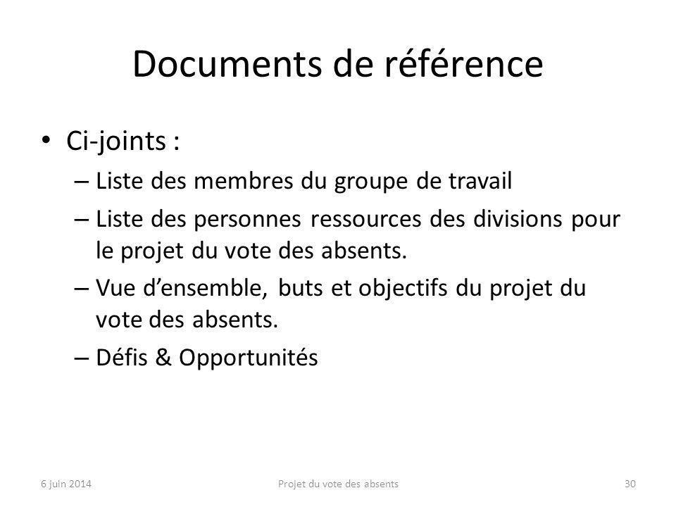Documents de référence Ci-joints : – Liste des membres du groupe de travail – Liste des personnes ressources des divisions pour le projet du vote des absents.