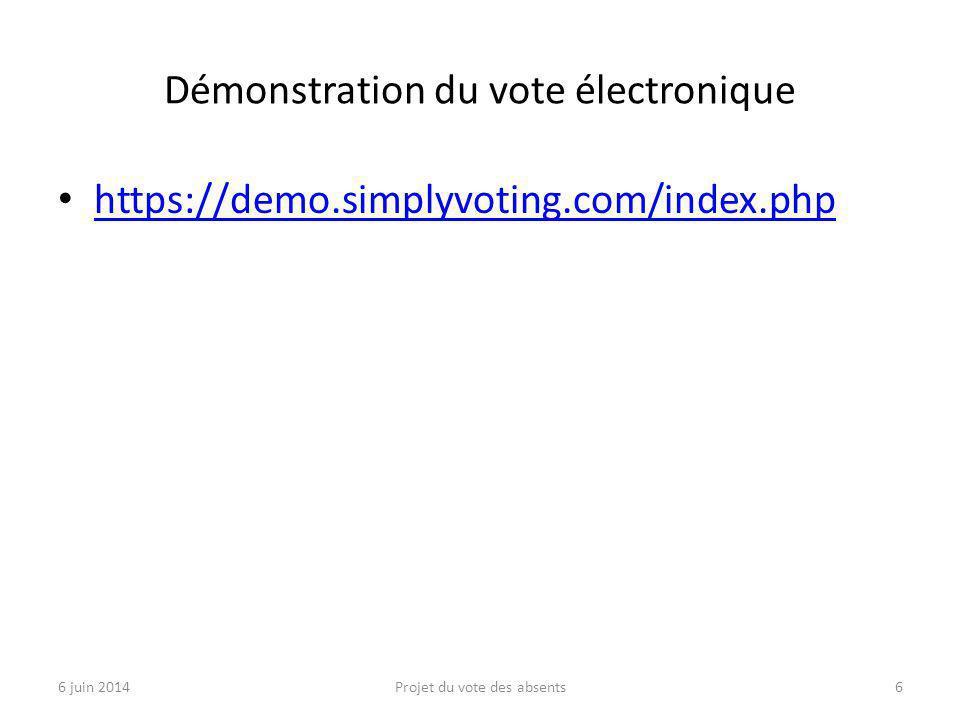 Démonstration du vote électronique https://demo.simplyvoting.com/index.php 6 juin 2014Projet du vote des absents6