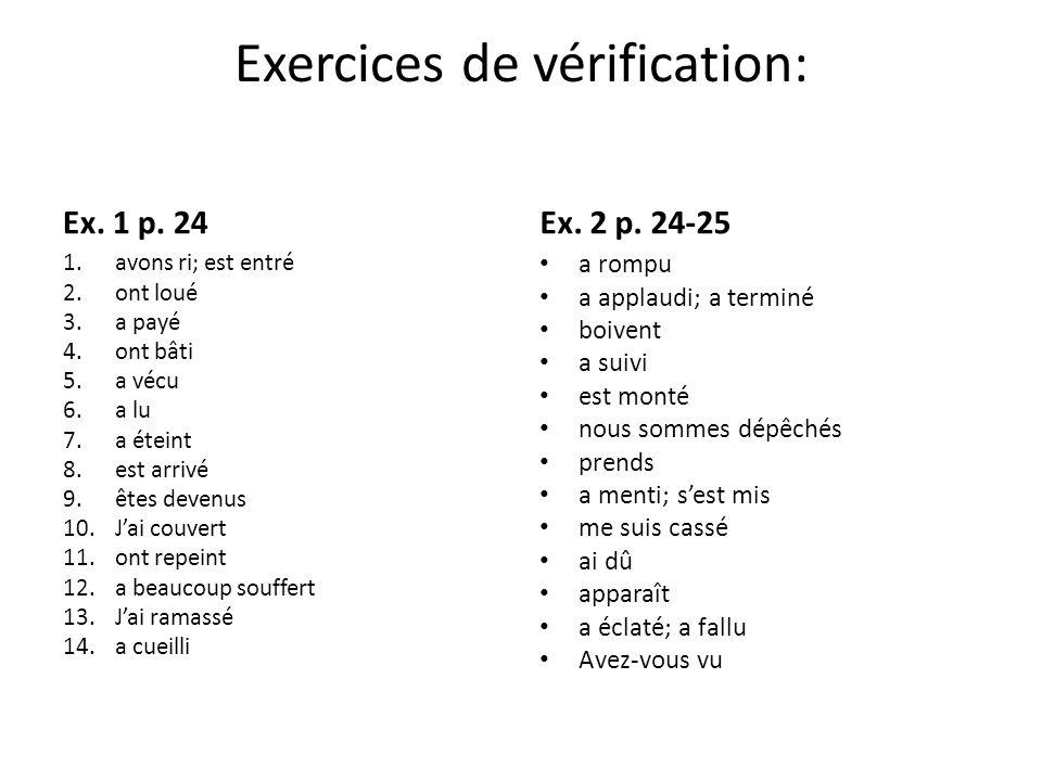 Exercices de vérification Ex.1 p.