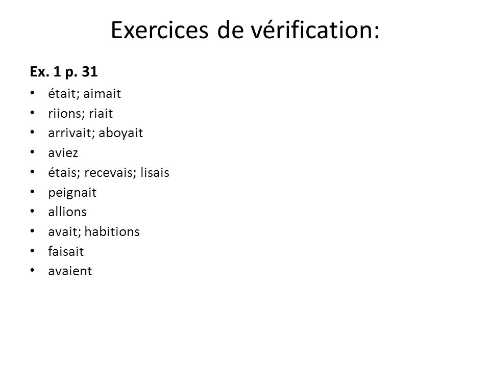 Exercices de vérification: Ex. 1 p.