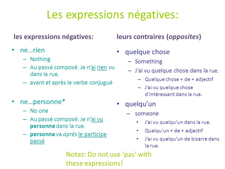 Les expressions négatives comme sujet: These expressions can be used as the subject of your sentence: Personne ne + verbe ('il' singulier).