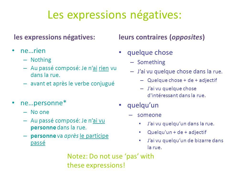 Les expressions négatives: les expressions négatives: ne…rien – Nothing – Au passé composé: Je n'ai rien vu dans la rue.