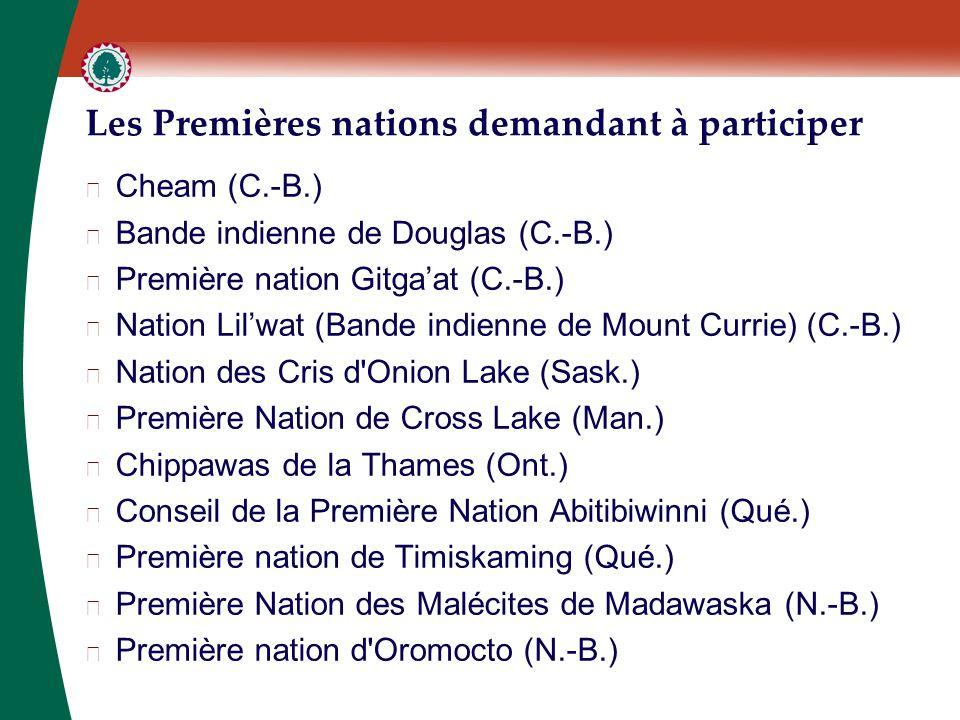 Les Premières nations demandant à participer ▶ Cheam (C.-B.) ▶ Bande indienne de Douglas (C.-B.) ▶ Première nation Gitga'at (C.-B.) ▶ Nation Lil'wat (Bande indienne de Mount Currie) (C.-B.) ▶ Nation des Cris d Onion Lake (Sask.) ▶ Première Nation de Cross Lake (Man.) ▶ Chippawas de la Thames (Ont.) ▶ Conseil de la Première Nation Abitibiwinni (Qué.) ▶ Première nation de Timiskaming (Qué.) ▶ Première Nation des Malécites de Madawaska (N.-B.) ▶ Première nation d Oromocto (N.-B.)