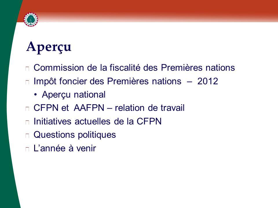 Aperçu ▶ Commission de la fiscalité des Premières nations ▶ Impôt foncier des Premières nations – 2012 Aperçu national ▶ CFPN et AAFPN – relation de travail ▶ Initiatives actuelles de la CFPN ▶ Questions politiques ▶ L'année à venir