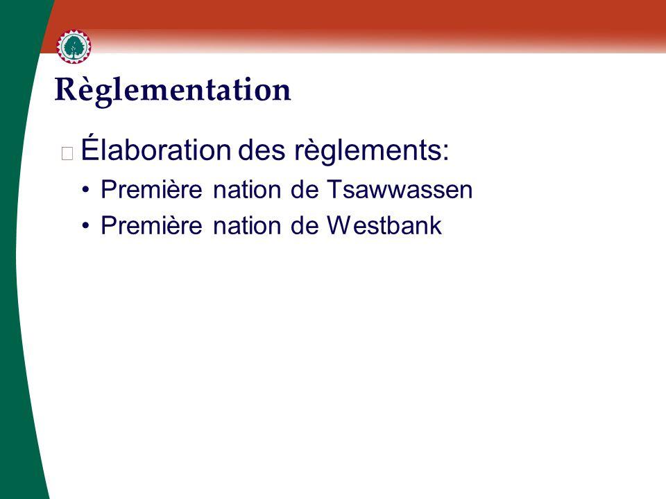 Règlementation ▶ Élaboration des règlements: Première nation de Tsawwassen Première nation de Westbank