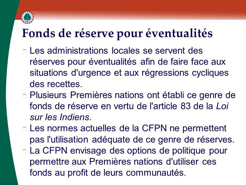 Fonds de réserve pour éventualités ▶ Les administrations locales se servent des réserves pour éventualités afin de faire face aux situations d urgence et aux régressions cycliques des recettes.