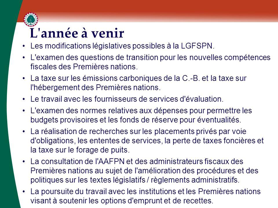 L'année à venir Les modifications législatives possibles à la LGFSPN. L'examen des questions de transition pour les nouvelles compétences fiscales des