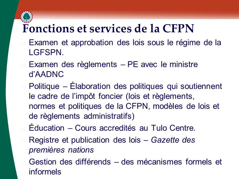 Fonctions et services de la CFPN ▶ Examen et approbation des lois sous le régime de la LGFSPN. ▶ Examen des règlements – PE avec le ministre d'AADNC ▶