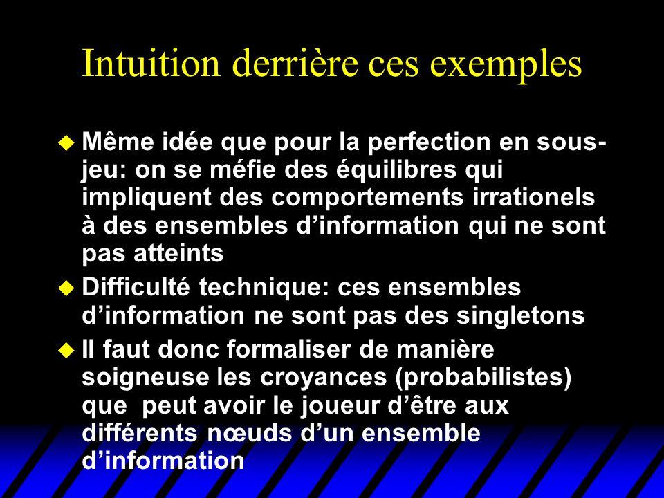 Intuition derrière ces exemples u Même idée que pour la perfection en sous- jeu: on se méfie des équilibres qui impliquent des comportements irratione