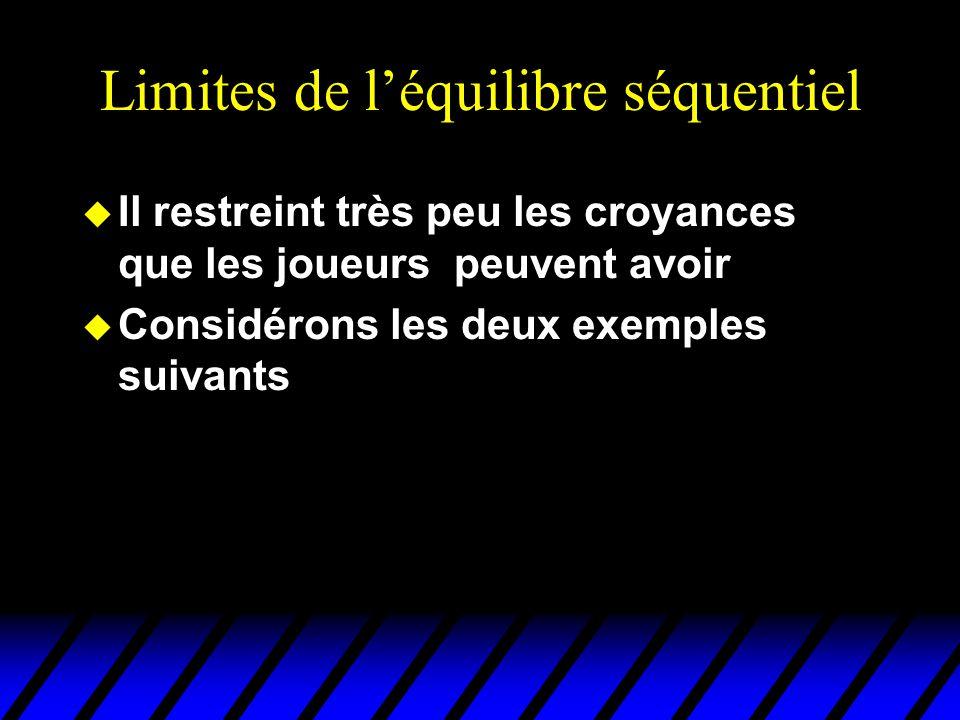 Limites de l'équilibre séquentiel u Il restreint très peu les croyances que les joueurs peuvent avoir u Considérons les deux exemples suivants