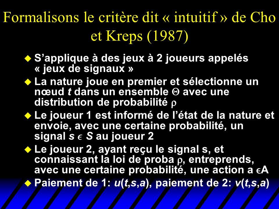 Formalisons le critère dit « intuitif » de Cho et Kreps (1987) u S'applique à des jeux à 2 joueurs appelés « jeux de signaux » u La nature joue en pre