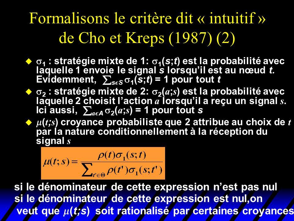 Formalisons le critère dit « intuitif » de Cho et Kreps (1987) (2) u  1 : stratégie mixte de 1:  1 (s;t) est la probabilité avec laquelle 1 envoie l